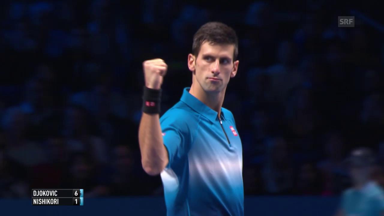 Tennis: ATP Finals, 1. Runde, Djokovic-Nishikori, Satzball 2. Satz