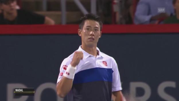 Video «Tennis: ATP Montreal, Nishikori schlägt Nadal» abspielen