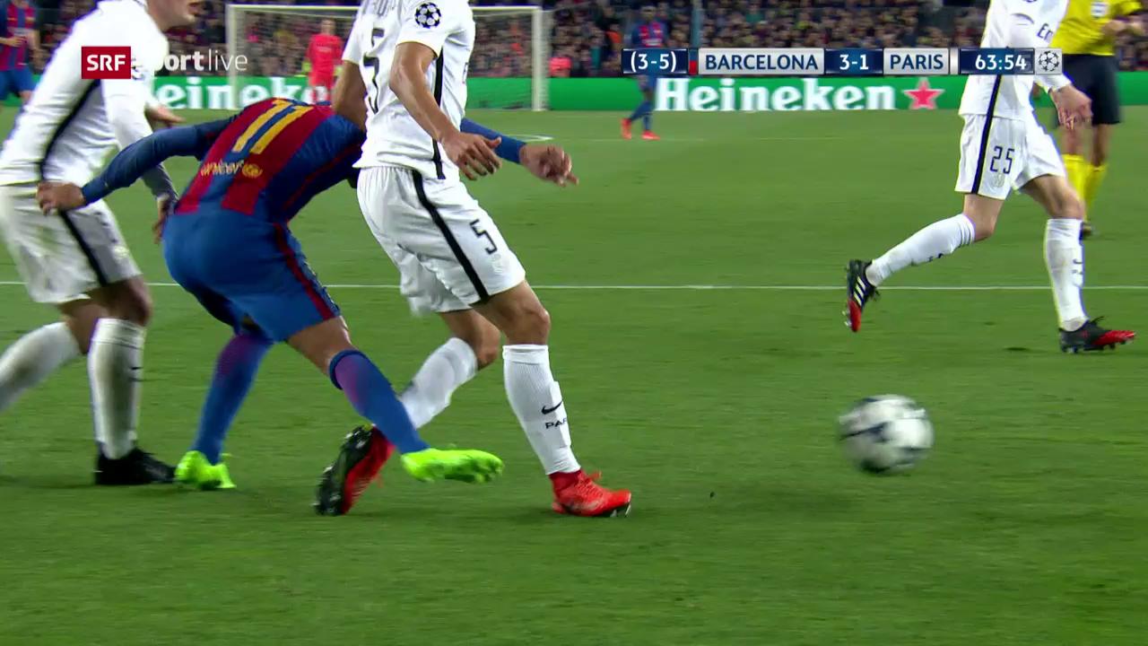Neymar bleibt hängen und tritt nach