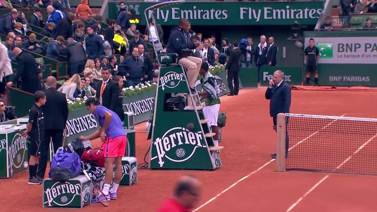 Tennis: French Open 2015, Achtelfinal Federer - Monfils, Unterbruch wegen Dunkelheit