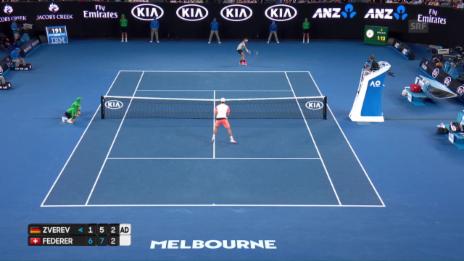 Link öffnet eine Lightbox. Video So macht Tennis Spass: Federer gewinnt spektakulären Ballwechsel abspielen