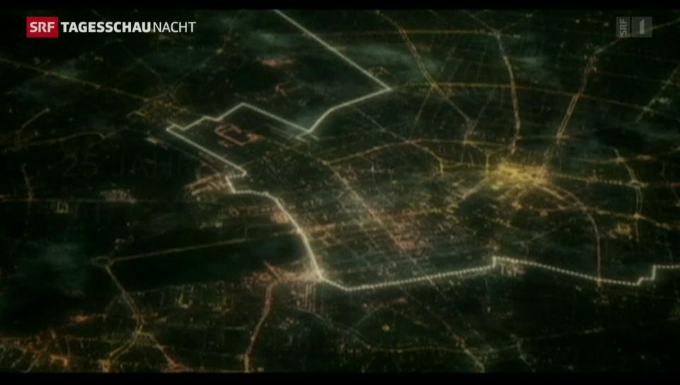 Lichtinstallation erinnert an Berliner Mauer