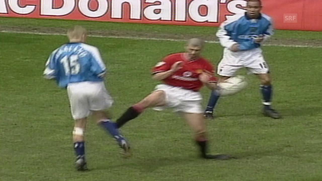 Keane fliegt wegen Brutalo-Foul (23.4.2001)