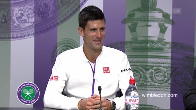 Video ««Glutenfrei, unbehandelt, organisch.» - Djokovic witzelt über sein Gras-Ritual» abspielen