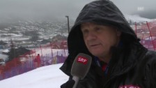 Video «Adelboden-Rennleiter Hans Pieren äussert sich zur Absage in Adelboden» abspielen