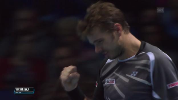 Video «Tennis: ATP Finals, Wawrinka - Cilic: Die wichtigsten Punkte» abspielen