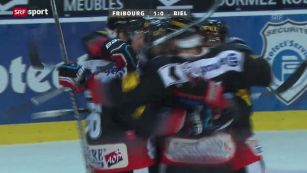Video «NLA: Zusammenfassung Fribourg - Biel («sportaktuell»)» abspielen