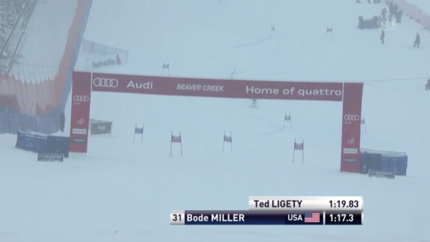 Video «Ski: Bode Millers 1. Lauf beim RS in Beaver Creek» abspielen