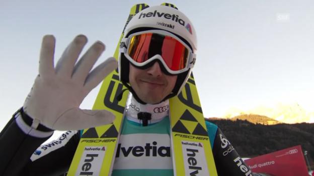 Video «Skispringen: Engelberg, 20.12.2015, Simon Ammann 2. Sprung» abspielen