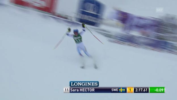 Video «Ski Alpin: Weltcup Kühtai, Riesenslalom, 2. Sara Hector» abspielen