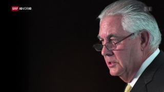 Video «Aussenminister Tillerson verlässt das Weisse Haus» abspielen