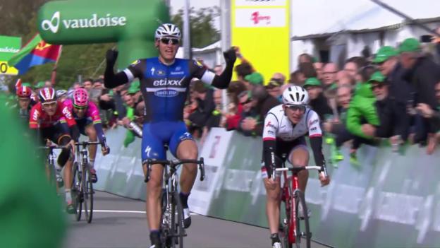 Video «Kittel siegt bei der 1. Etappe der Tour de Romandie» abspielen