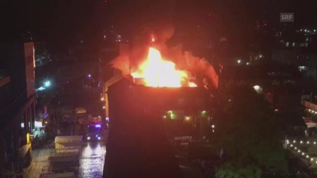 Video «Grossbrand im Londoner Camden Market (unkomm.)» abspielen