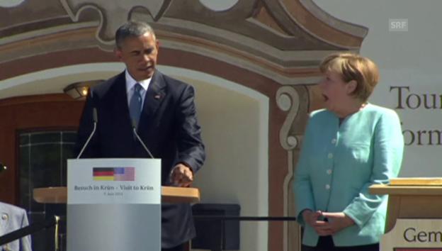 Video ««Grüss Gott» von Obama – Merkel ist entzückt» abspielen
