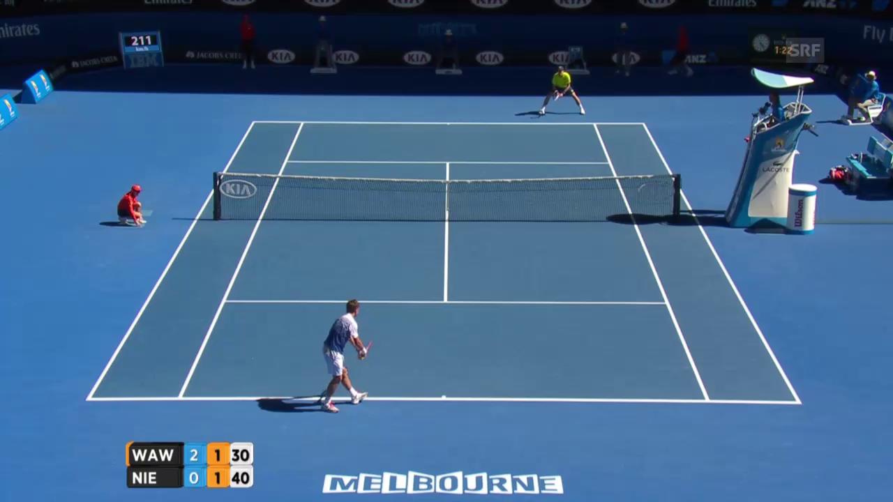 Tennis: Australian Open, Wawrinka -Nieminen, Break Nieminen im 3. Satz