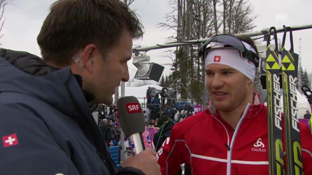 Video «Sotschi: Langlauf, Sprints, Interview mit Cologna» abspielen