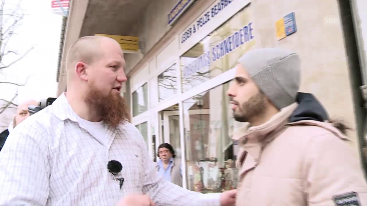 Prediger Pierre Vogel wirbt junge Menschen in Dortmund an