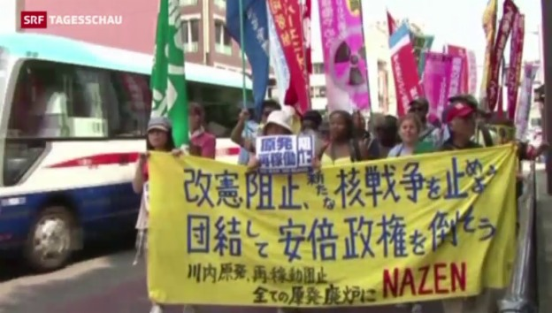 Video «Nagasaki: Protest am Atombomben-Gedenktag» abspielen