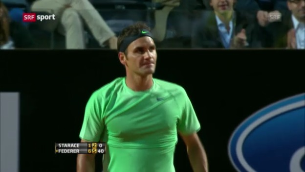 Video «ATP Rom: Federer - Starace («sportaktuell»)» abspielen