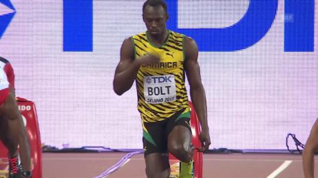 Video «Leichtathletik: WM Peking, 100-m-Halbfinal mit Usain Bolt» abspielen