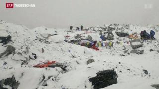 Video «Lawine trifft Basislager am Mount Everest » abspielen