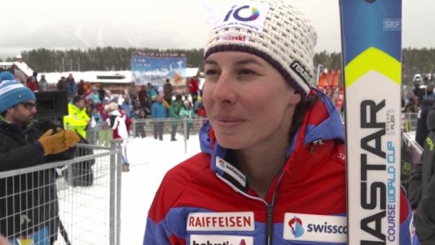 Video «Ski alpin: Weltcup in Lake Louise, Abfahrt, Dominique Gisin im Interview» abspielen