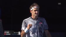 Link öffnet eine Lightbox. Video Federer ohne Satzverlust in Runde 3 abspielen