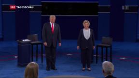 Video «Gehässige zweite TV-Debatte zwischen Clinton und Trump» abspielen
