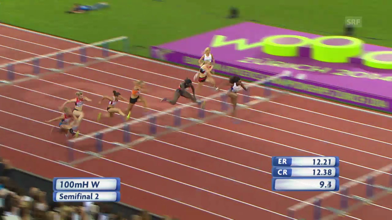 LA-EM: 100 m Hürden Frauen, Halbfinal mit Lisa Urech