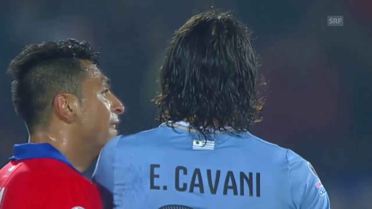 Fussball: Copa America, Chile-Uruguay, Intermezzo Jara-Cavani