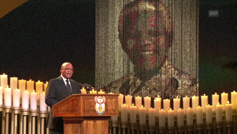 Präsident Zuma singt für Nelson Mandela