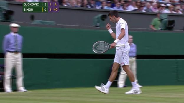 Video «Tennis: Wimbledon, Djokovic - Simon, entscheidende Punkte» abspielen