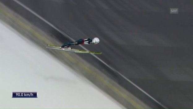 Video «Der 1. Sprung von Simon Ammann in Pyeongchang» abspielen