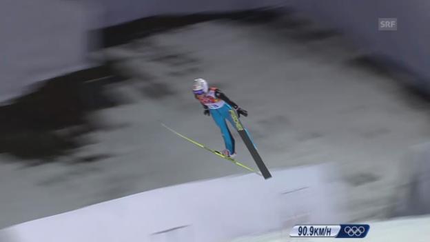 Video «Skispringen: 2. Sprung von Bigna Windmüller (sotschi direkt, 11.02.2014)» abspielen
