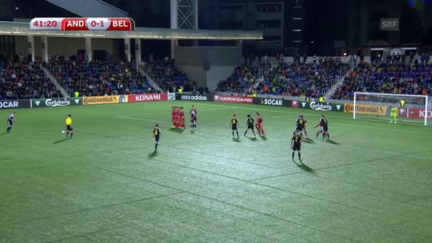 Video «Fussball: EURO-Quali, Andorra - Belgien, Freistoss De Bruyne» abspielen