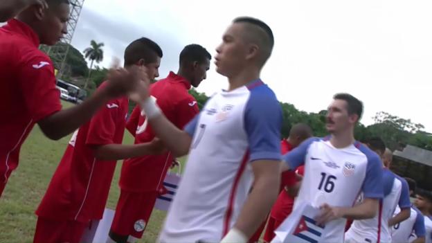 Video «Historisch: Die USA gastieren in Kuba zum Freundschaftsspiel» abspielen