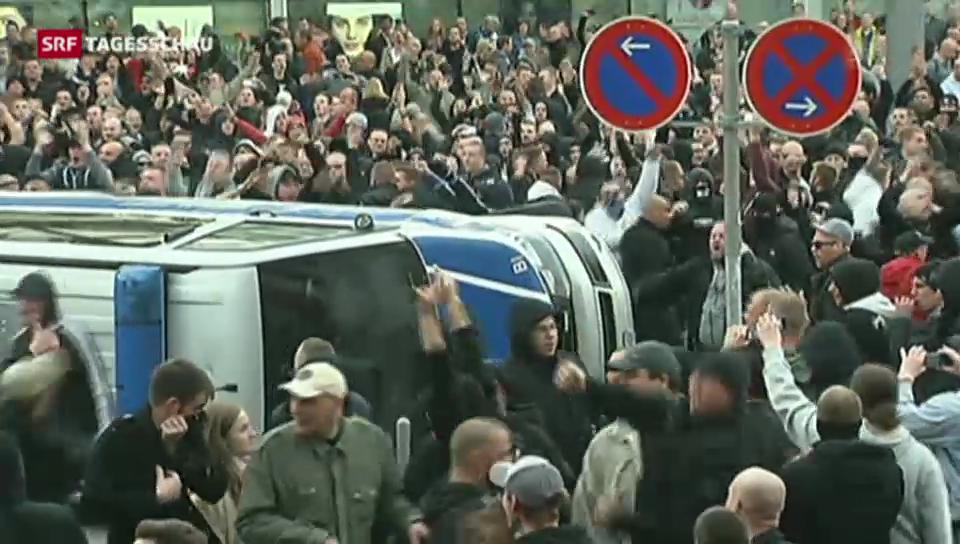 Krawallen nach Marsch gegen Salafisten