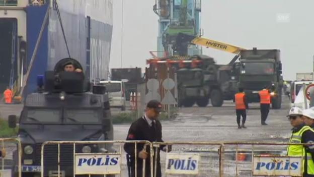 Video «Deutsche Patriot-Raketen in der Türkei angekommen» abspielen