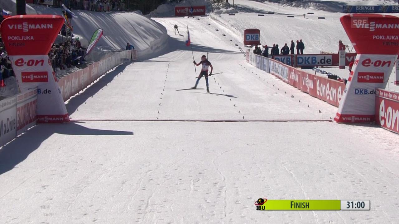 Biathlon: Verfolgung Männer über 12,5 km, Zieleinlauf («sportlive», 8.3.2014)