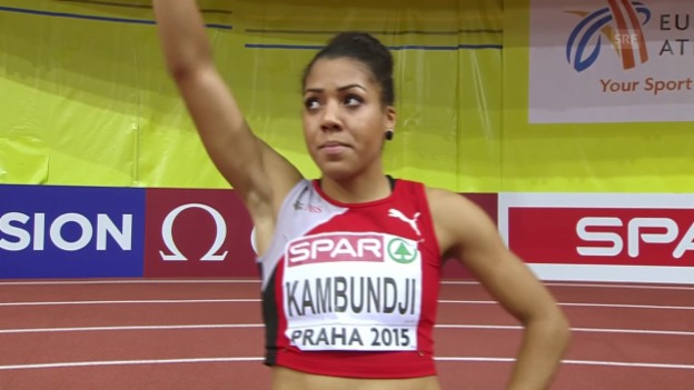 Video «Leichtathletik: Hallen-EM Prag, Final 60 m Frauen, Mujinga Kambundji» abspielen