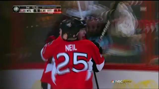 Eishockey: NHL, Ottawa-Montreal, 3 Tore von Pageau