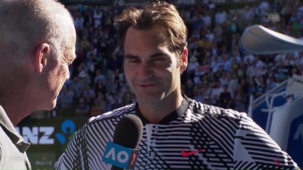Video «Federer: «Mein Aufschlag hat mich im Spiel gehalten» (engl.)» abspielen