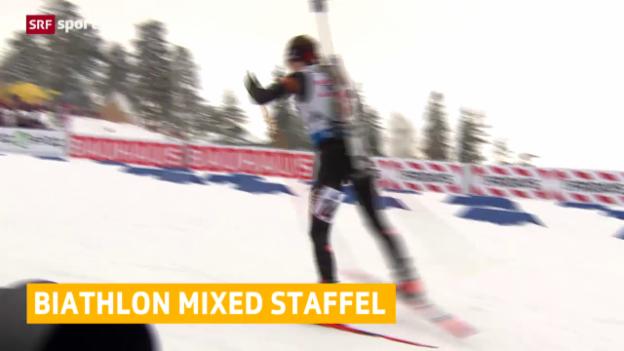Video «Schweizer Enttäuschung bei der Mixed-Staffel der Biathlon-WM» abspielen