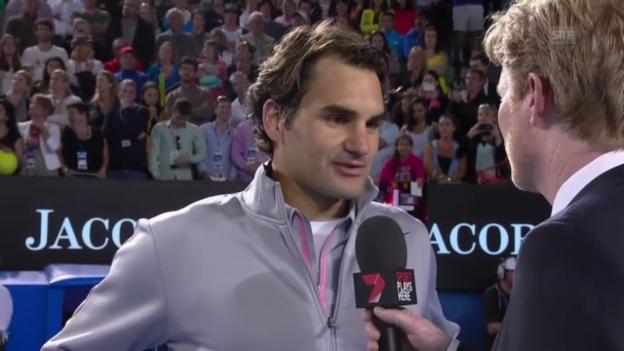 Video «Platzinterview mit Roger Federer (Englisch)» abspielen
