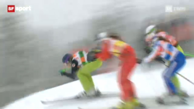 Video «Skicross : 1. Weltcup-Sieg für Katrin Müller» abspielen