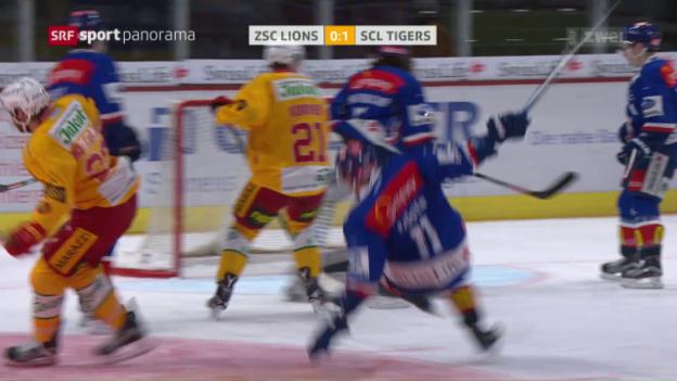 Video «Die ZSC Lions siegen mit Mühe gegen die SCL Tigers» abspielen