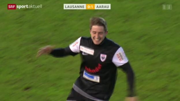 Video «Fussball: Lausanne - Aarau, Andrists Siegestor» abspielen