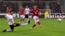 Link öffnet eine Lightbox. Video Besser geht es nicht: Dänisches Traumtor gegen Österreich abspielen