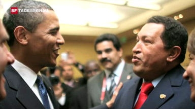 Barack Obama trifft Hugo Chavez