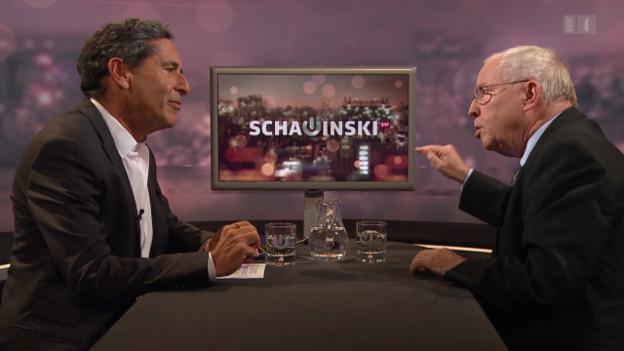 Video «Roger Schawinski im Gespräch mit Christoph Blocher» abspielen